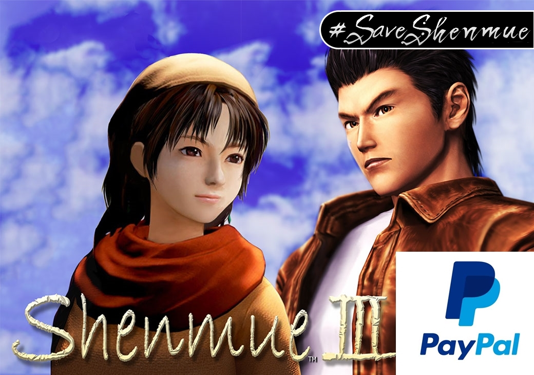A campanha Shenmue 3 continua pelo PayPal,clique na imagem e vá direto ao site oficial.