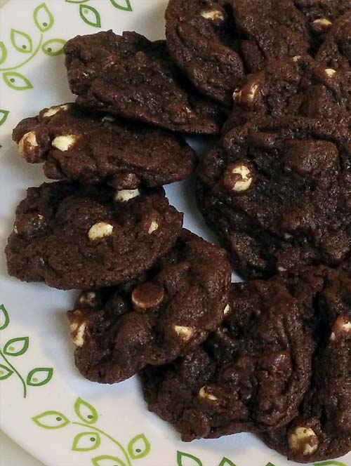 Double Chocolate White Chocolate Cookies. Recipe is so easy, a 14 year old made these.