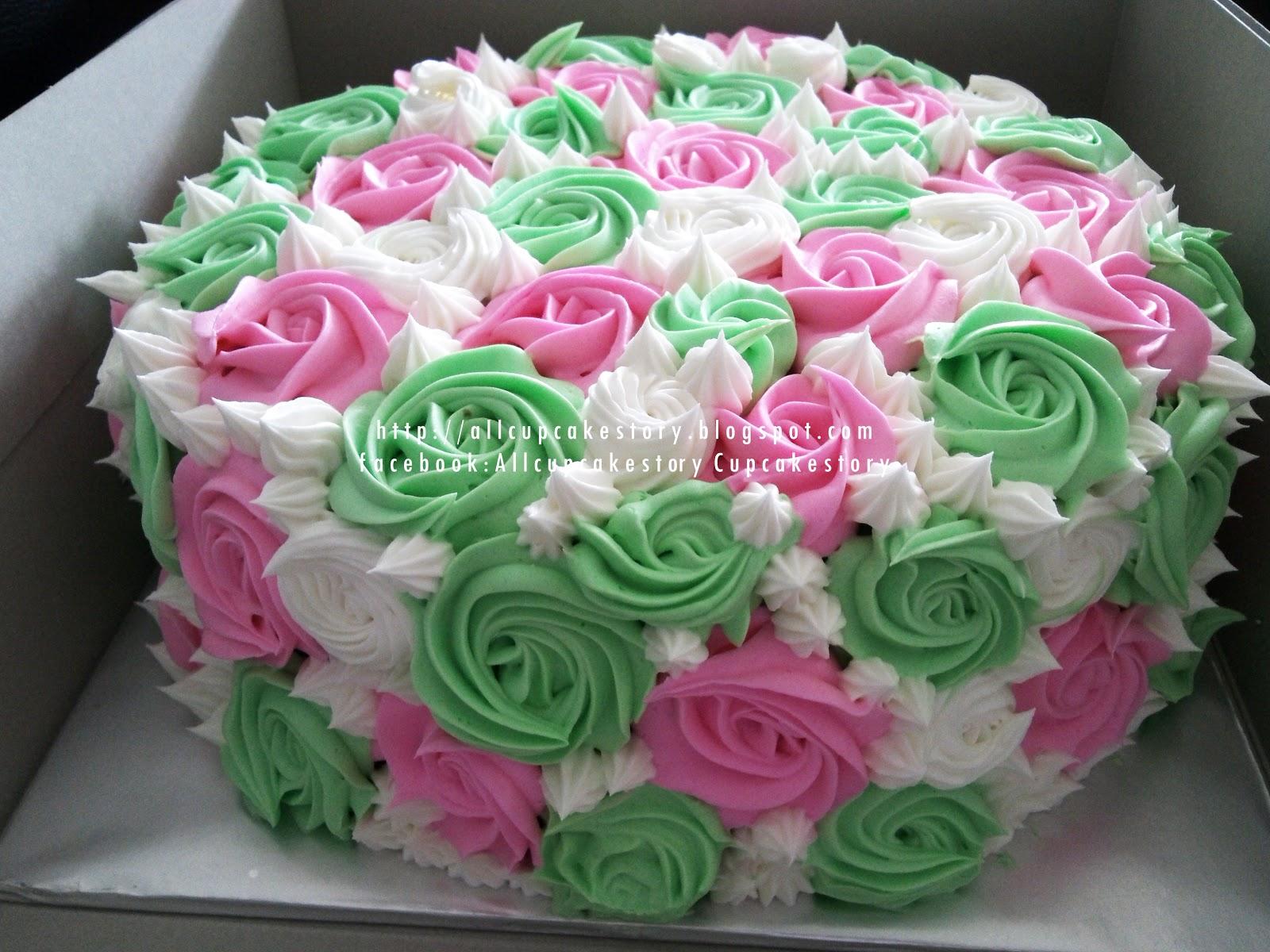 Green And Pink Roses allcupcakestory...