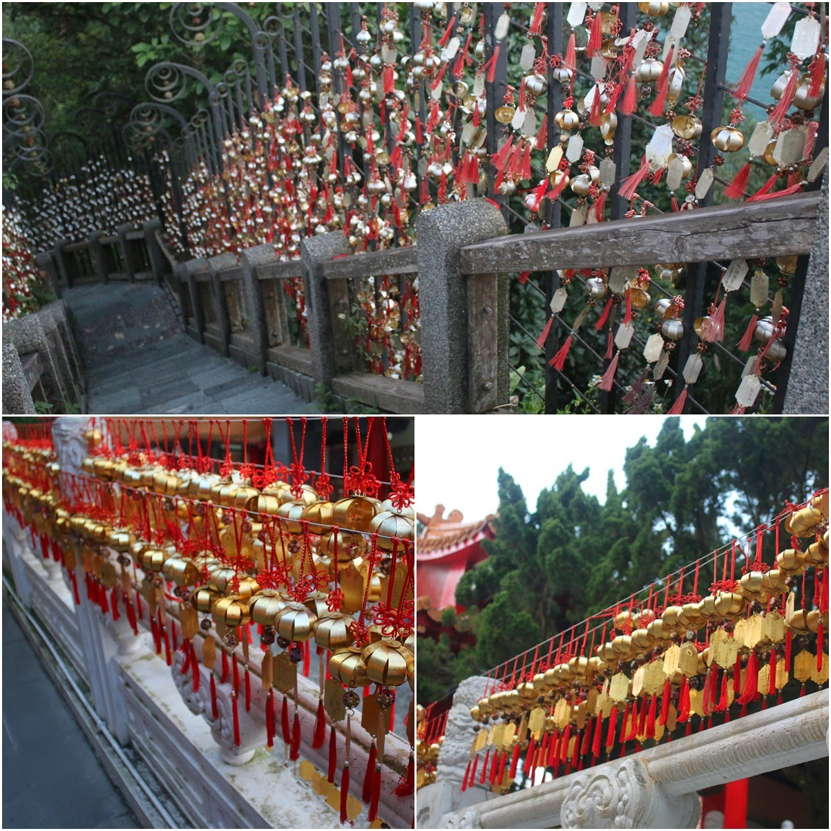 Blessing wind bells are hung on wrought-iron ladders which represent the year of birth and hopefully your prayers will be granted at Wenwu Temple in Puli County of Taiwan