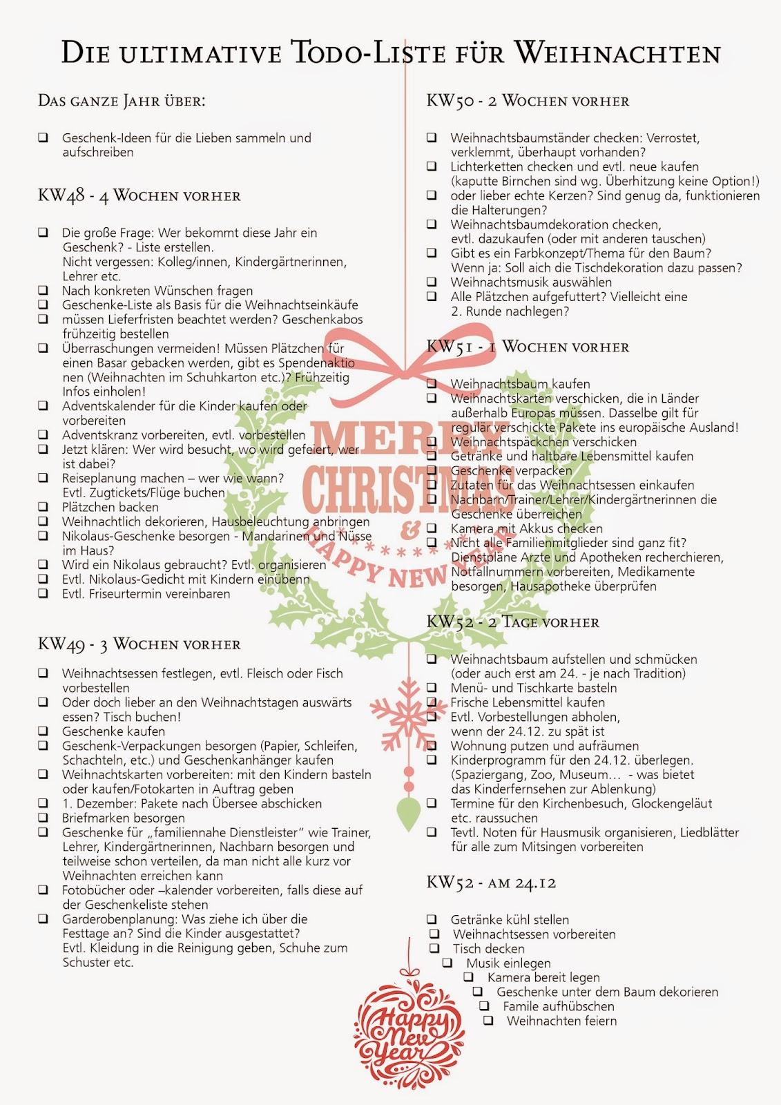 Checkliste Weihnachten