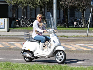 girls with moped scooter