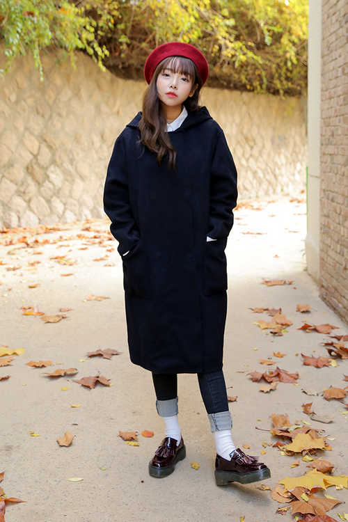 Woolen Hooded Long Coat