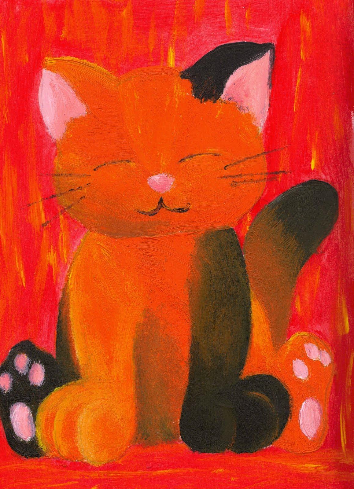 Estos dibujos son pintados con acrilico y tempera 2 - Dibujos de gatos pintados ...