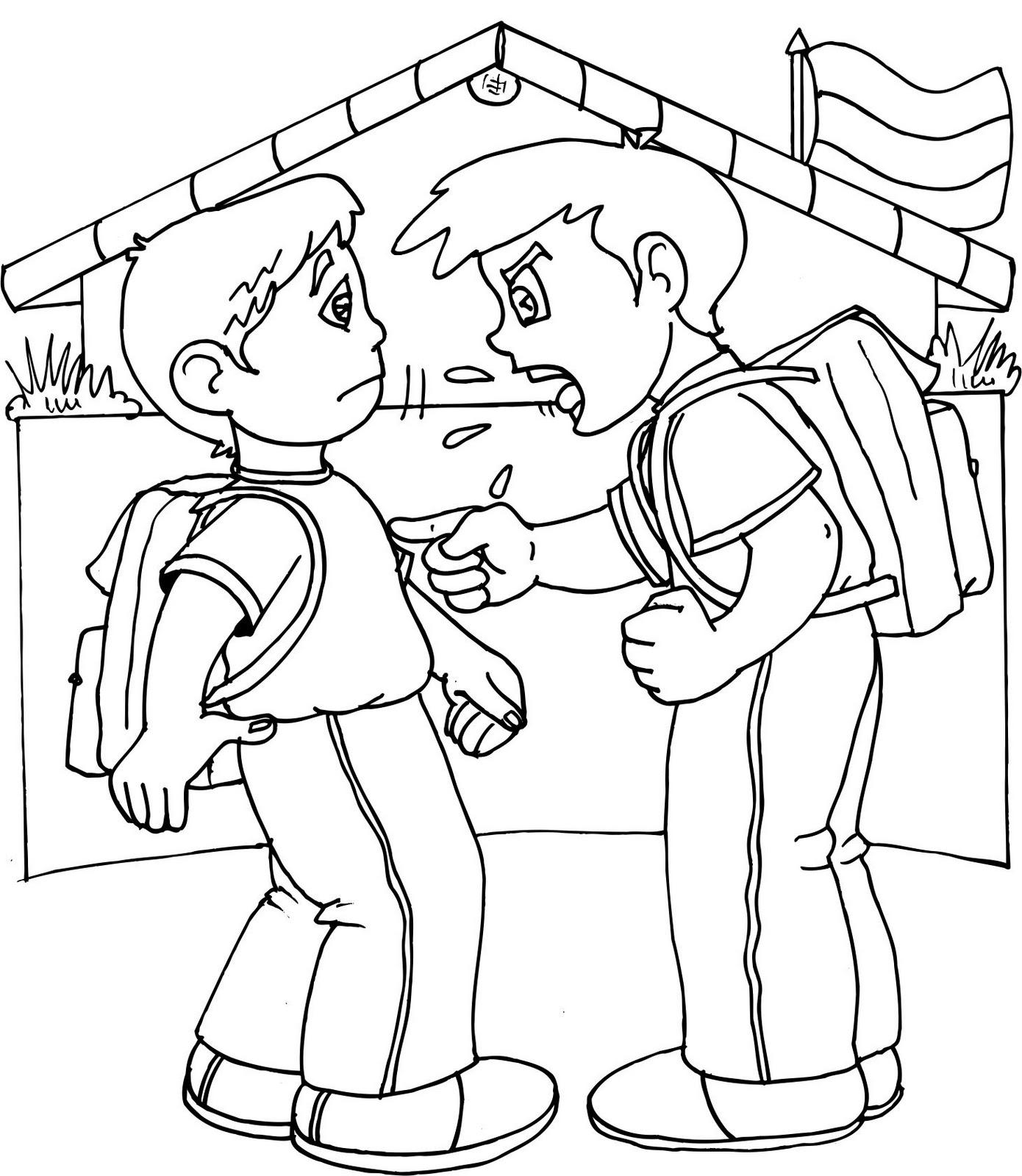 Dibujos de bullying acoso escolar para colorear y pintar Baju gamis ninos