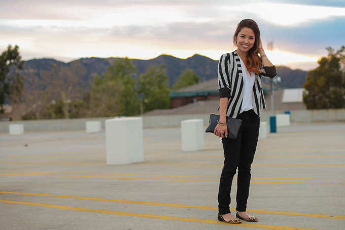 Line and Dot Stripe Judo blazer, Rich and Skinny High Waisted Skinny Jeans, Marc Jacobs clutch, beautybitten