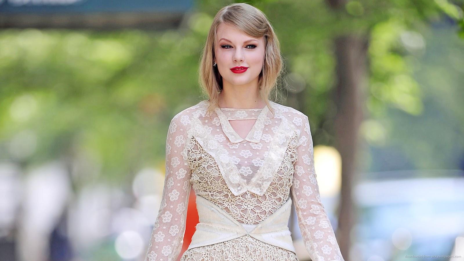 Taylor Swift in Revealing Dress on Street Wallpaper