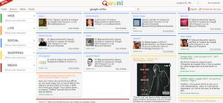 Interface de Qwant le google killer annoncé dans la presse