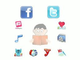 A student in the middle with all the social networks such as facebook, twitter, yahoo messenger, music and video icons around the student. The pic represents the network students PLE