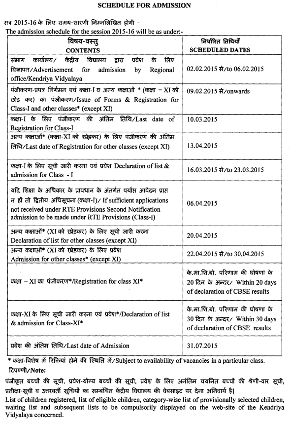 KV SChools Age Criteria and Admission Schedule for the year 2015-16 ...
