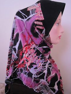 tudung cotton printed pink