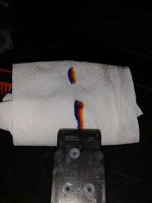 провести ПГ по салфетке или мягкой ткани, чтобы увидеть, где расположен каждый цвет чернил