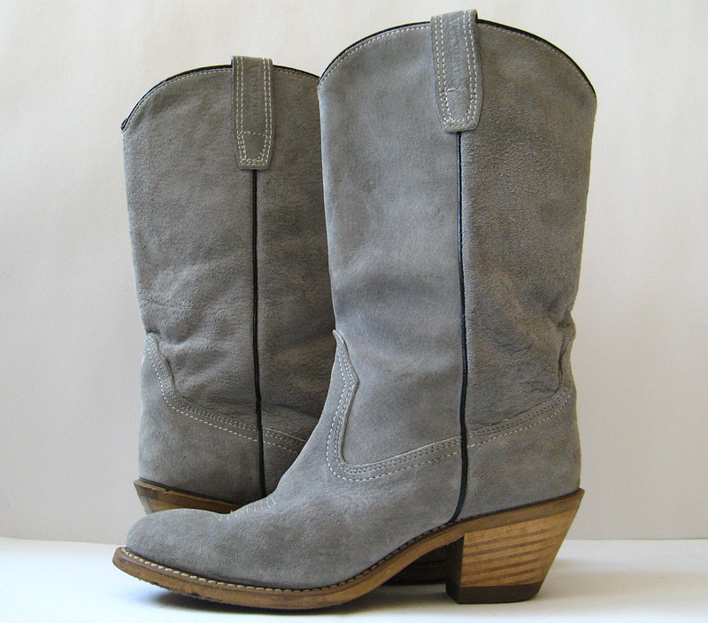 closet gray suede leather cowboy boots womens size 6