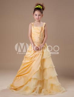 Adorable Jaunes Layered organza Robe Little Girls