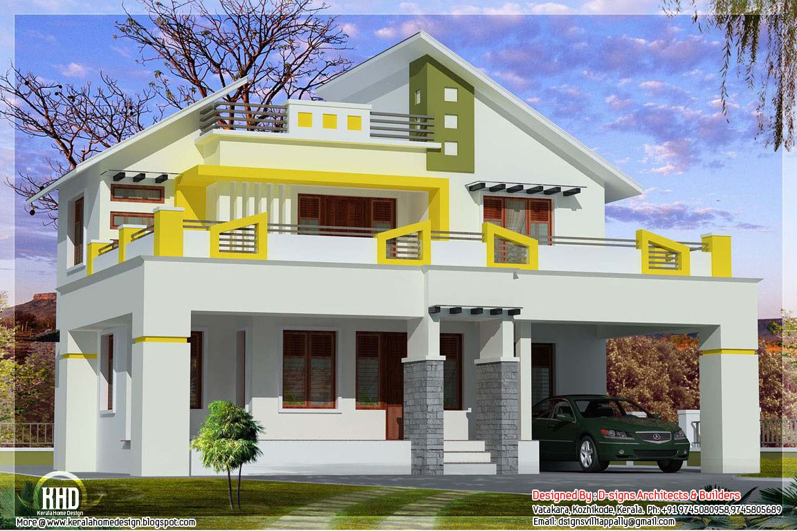 Blend of contemporary and kerala style kerala home for Kerala modern house designs