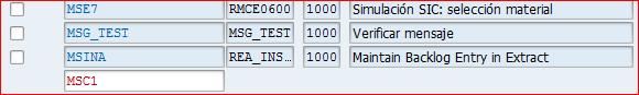 Listado de la transacción SM01