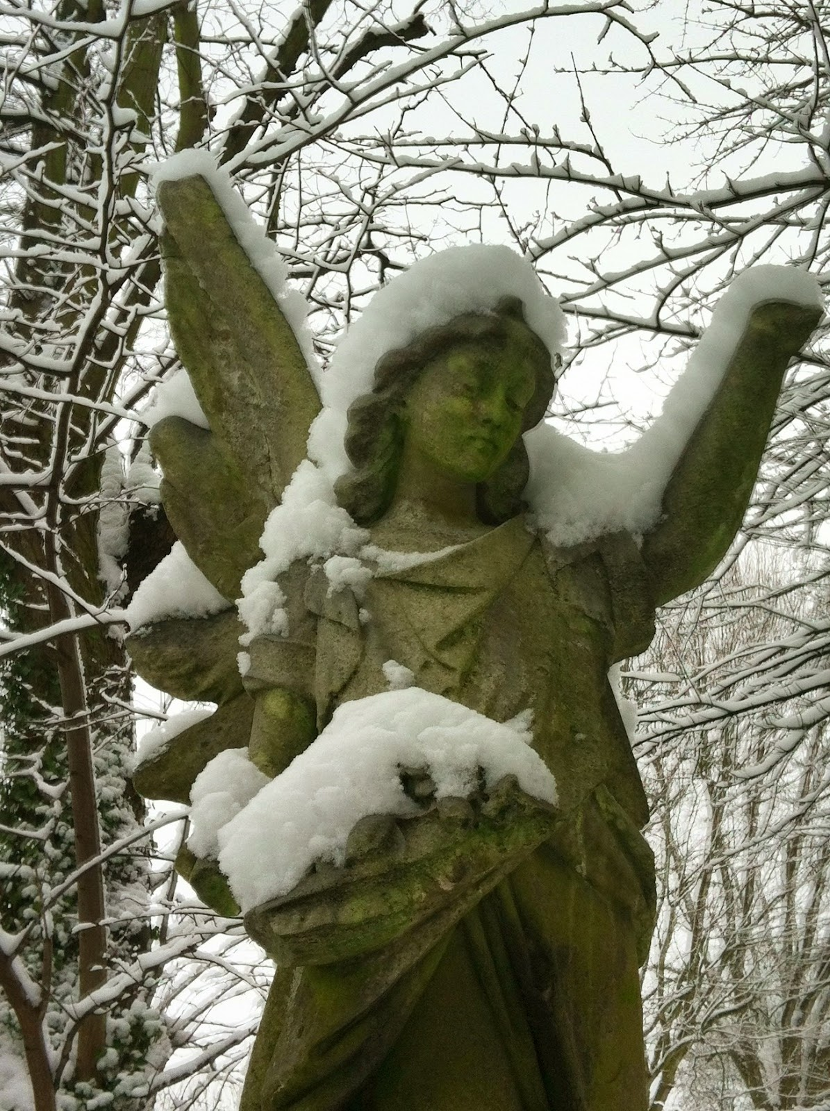 Snow covered angel: Brockley &amp; Ladywell Cemeteries