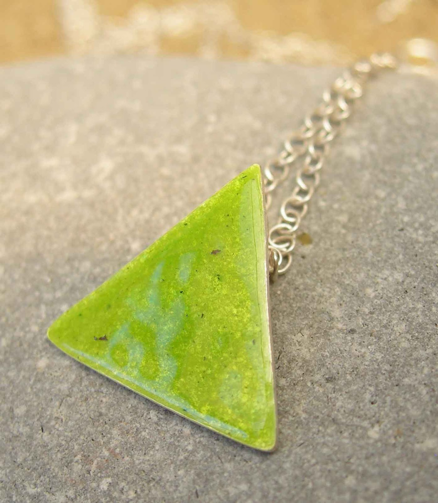 Silver Pyramid Pendant with Lime Green Enamel