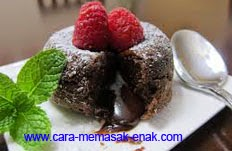 resep praktis dan mudah membuat (memasak) makanan kue chocolate lava spesial enak, lezat