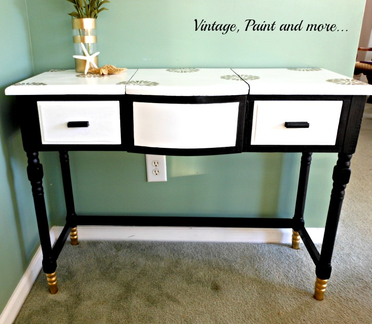 Vintage, Paint and more... old vanity made new with gold dipped feet and gold stencils