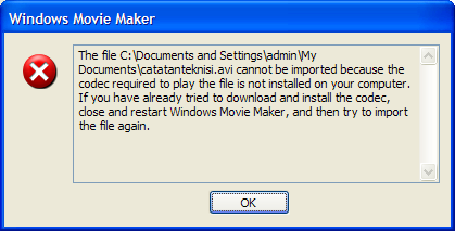 Windows Movie Maker error codex