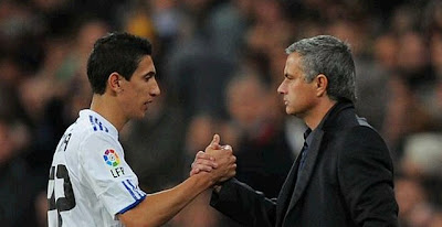 Angel Di Maria and Jose Mourinho