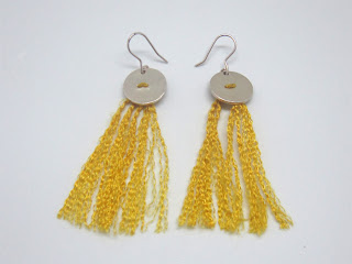 silk, sterling silver, yellow, tassel, earring