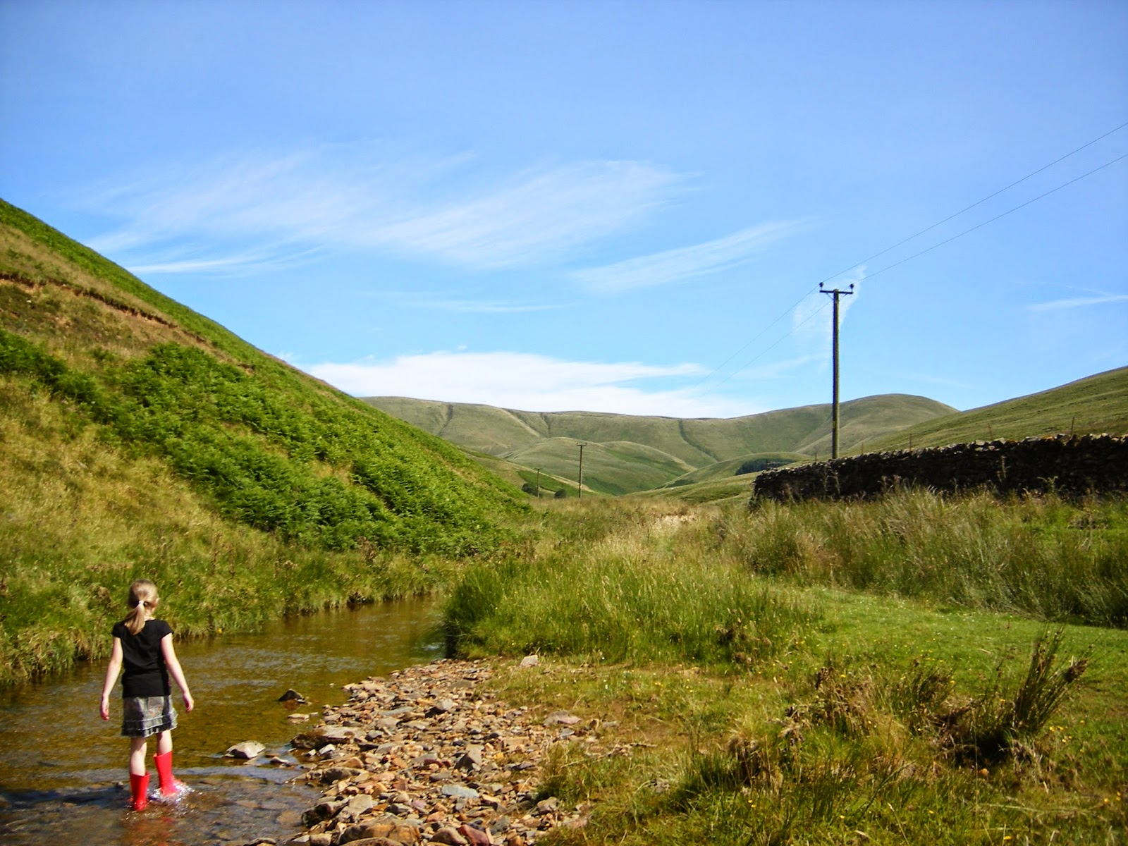 country landscape with hills and river/ stream in summer in scotland