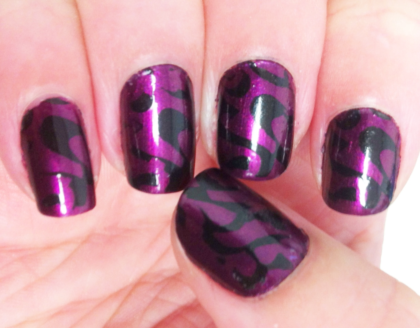 Nail Designs Purple Black: D art and sticker fun on dark purple ...