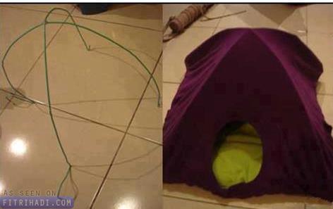 cara mudah diy buat rumah kucing tshirt hanger