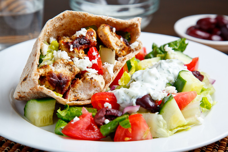Grilled Chicken Souvlaki Salad with Creamy Feta and Dill Dressing on ...