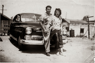 Felix Garcia with His Wife Josephine and Black Chevy after the War