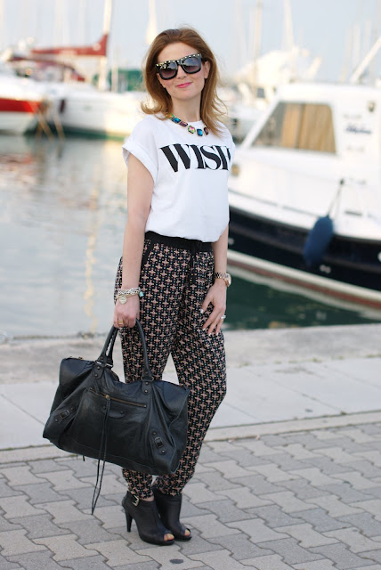 Balenciaga work, wish t-shirt, Pull & Bear pajama pants, Zara necklace, Fashion and Cookies