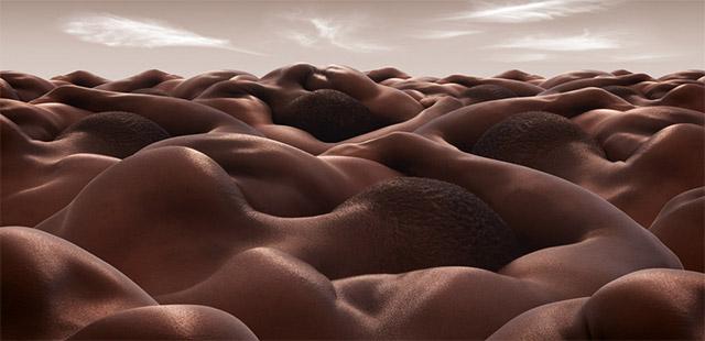 cabezas y hombros humanos forman un paisaje