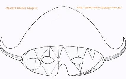 antifaz máscara carnaval adultos plantilla