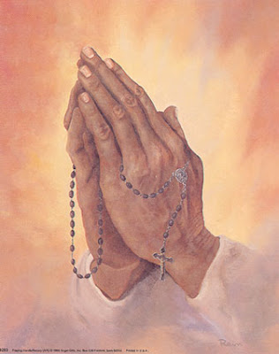 Holy Rosary in Praying Hands Picture