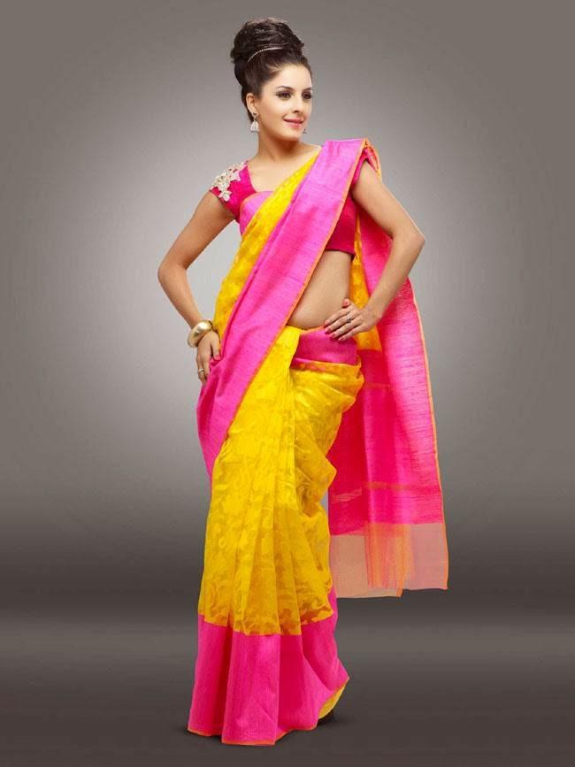 Isha Talwar In Yellow and Pink Saree
