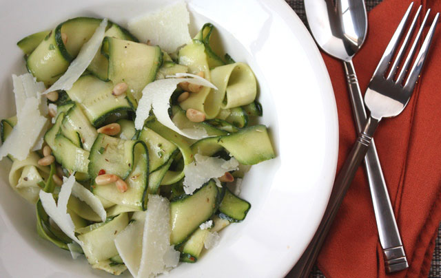 Zucchini Ribbon Salad with Pine Nuts recipe by Barefeet In The Kitchen