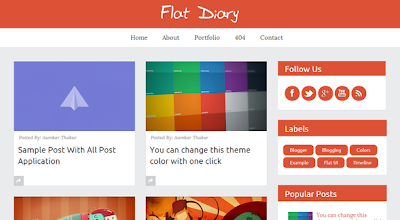 Flat Diary Responsive Blogger Template