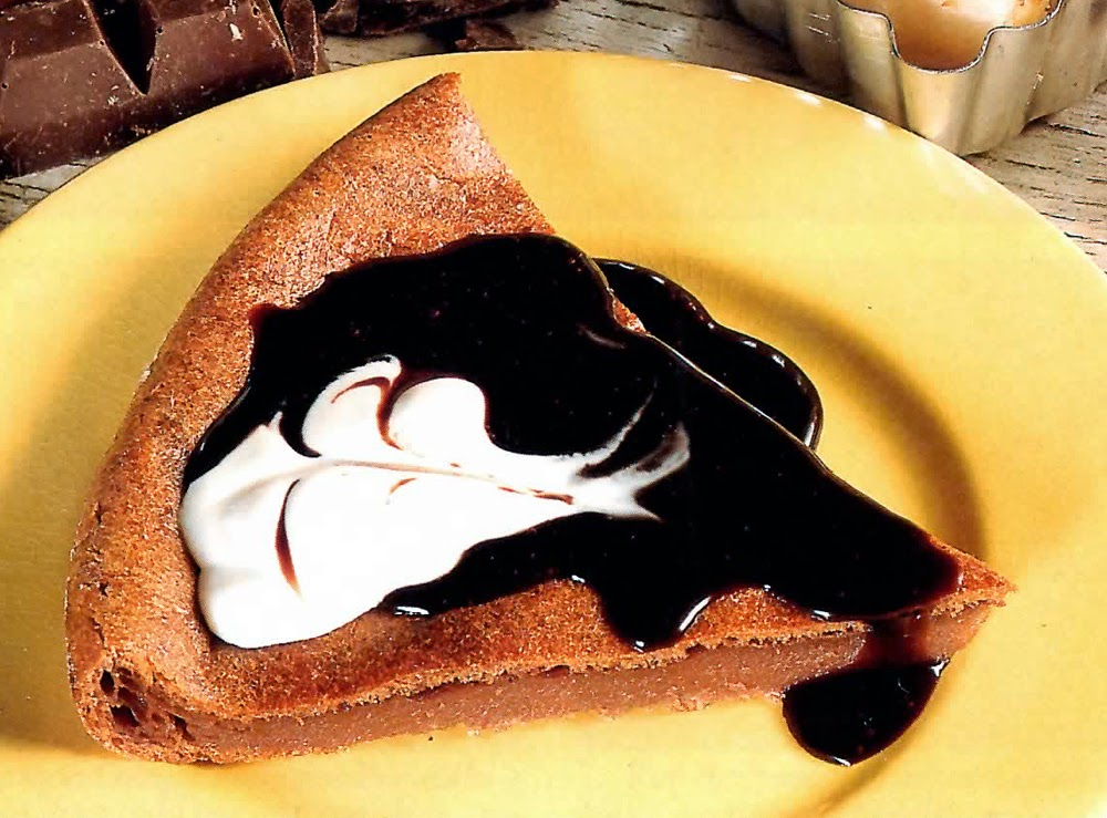 Crustless Chocolate Tart: Deesert chocolate tart, baked without a crust, served with an indulgent mocha sauce.