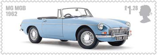 MG MGB on a stamp.