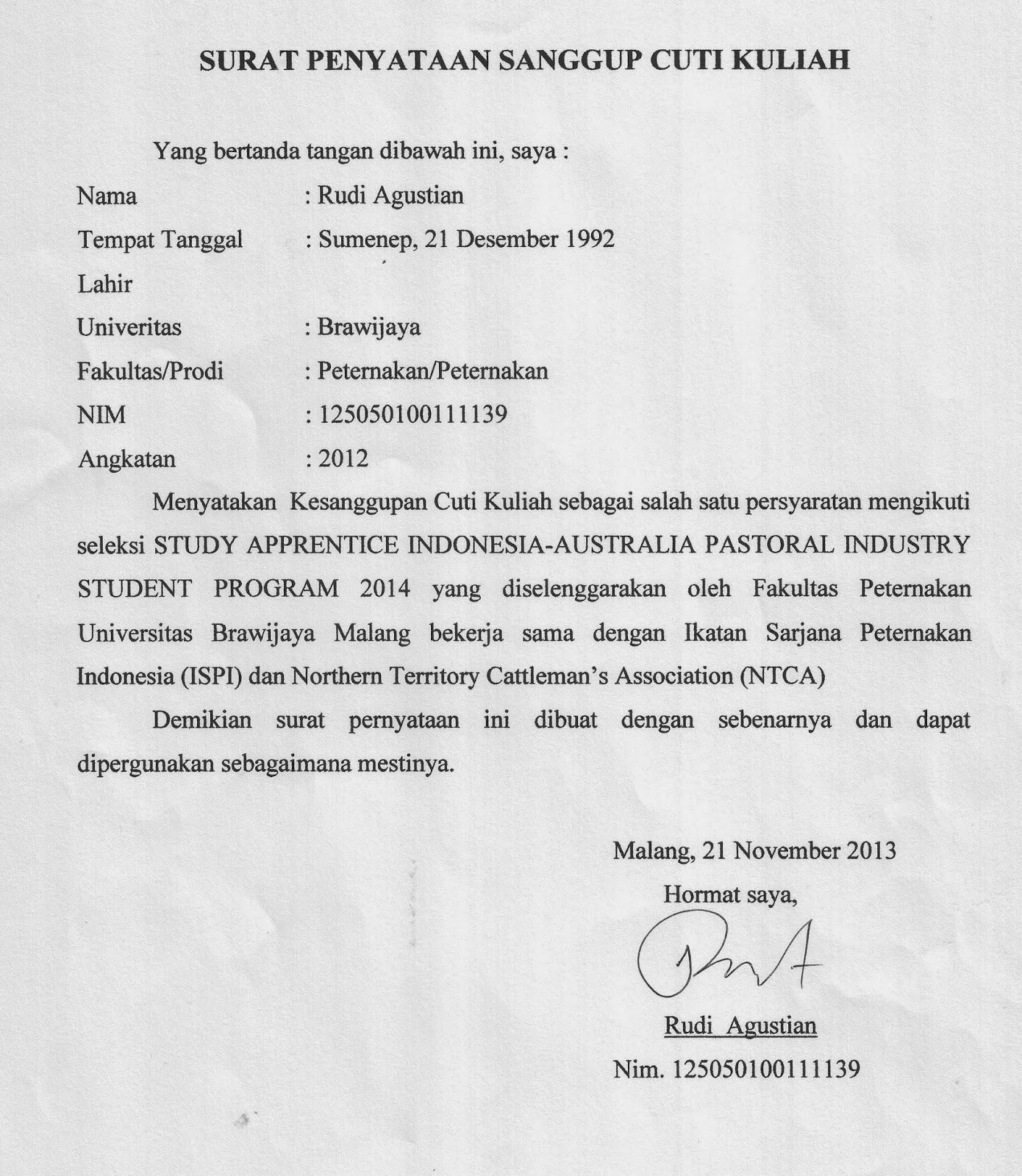 Contoh Surat Pernyataan Cuti Kuliah Emperor Rudi