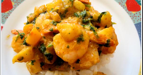 Gambas con curry de mango