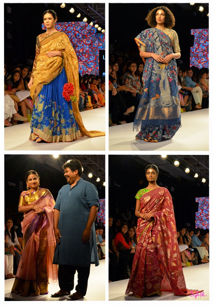 Designer Gaurang Shah showcases traditional Indian ethnic wear with sarees and weaves with showstopper Bollywood actor Vidya Balan at Lakme Fashion Week Summer Resort 2015 in Mumbai