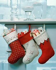 Meia de Natal feita de tecido passo a passo