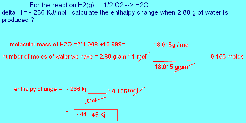 Free online help for the reaction h2 g 1 2 o2 h2o for Delta h table chemistry