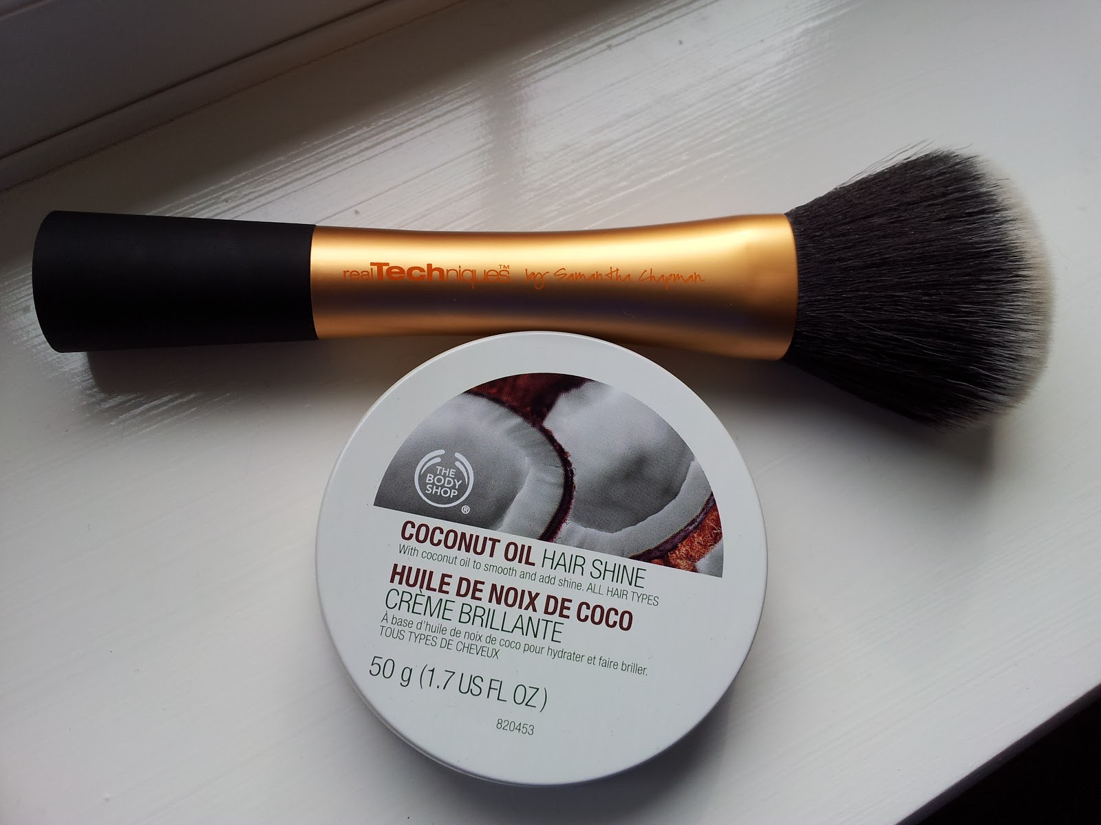 Real Techniques Powder Brush, The Body Shop Coconut Oil Hair Shine