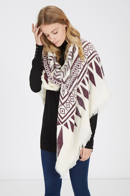 warehouse print scarf, oversized scarf cream, aztec print scarf,