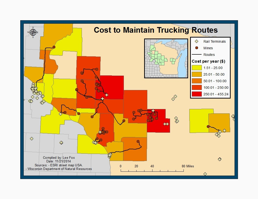 map 1 map illustrating the cost per year per county to maintain road networks of likely sand trucking activity based on hypothetical data