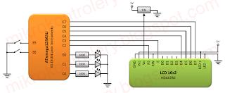 Podłączenia wyświetlacza do XMega - schemat układu do ćwiczenia przerwań.